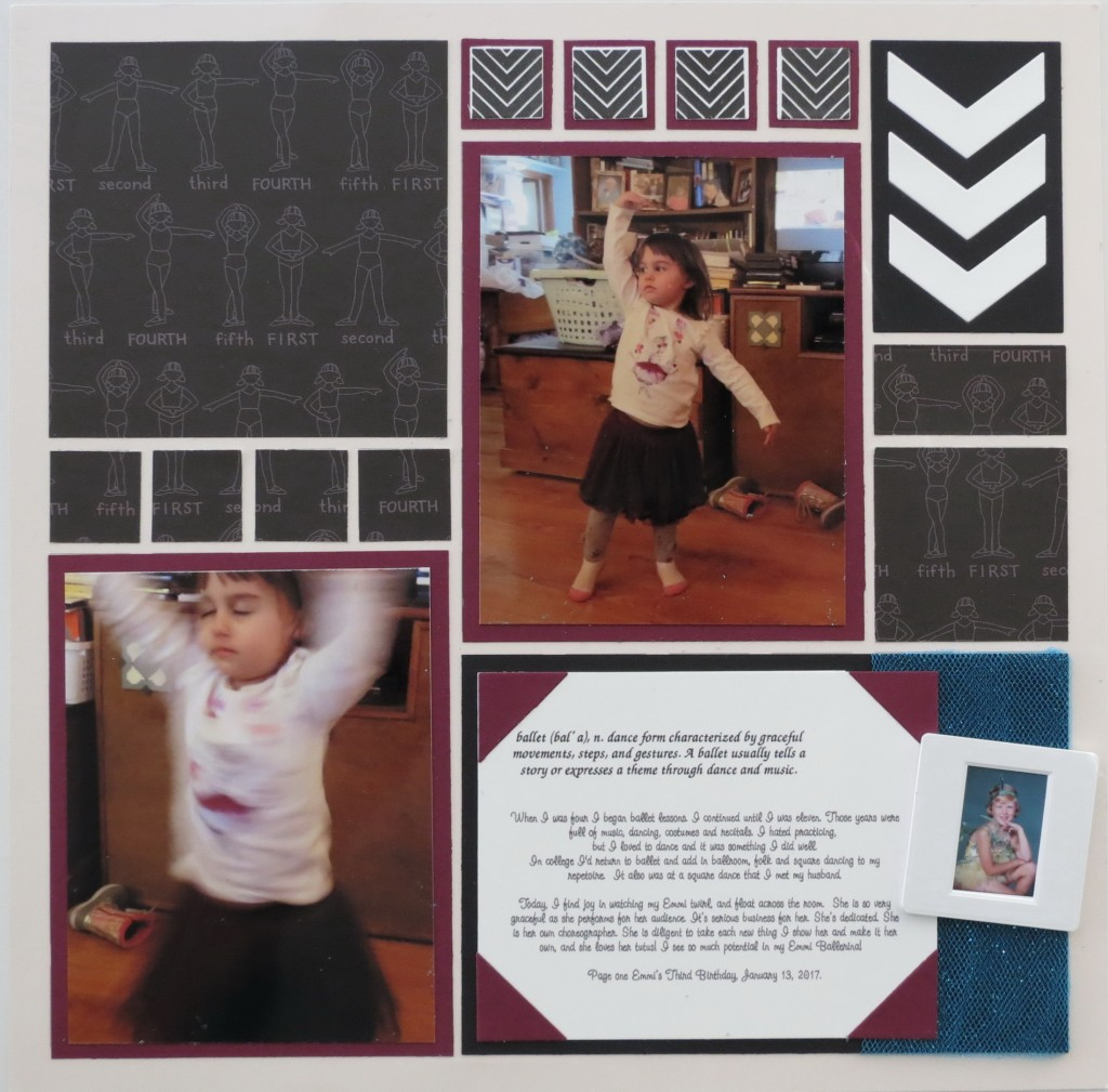 """MM TYS Tying Two Tales Together """"Emmi Ballerina"""" page 2 Chevron DIe and Petal Pink Grid Paper"""