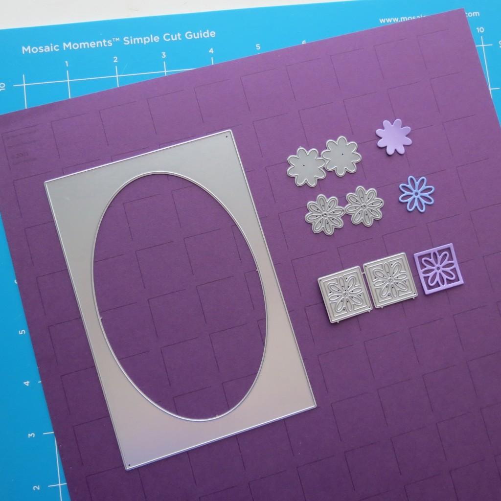 Mosaic Moments Royal Purple Grid Paper, 8 Petals Set and Oval Frame Set Dies