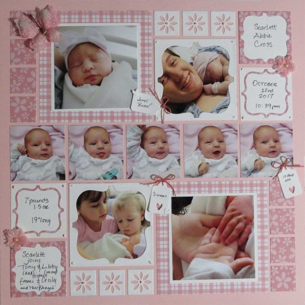 Mosaic Moments Pink Grid Paper, the Scallop Frame Plus Die
